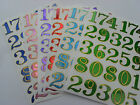 SHEET SHINY FOIL STICKERS NUMBERS NUMERACY - 2.2 CMS - 26  PIECES