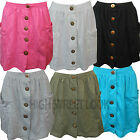 NEW WOMEN'S STYLISH LADIES MINI SUMMER SKIRT 2 POCKETS BUTTON FRONT SM,M/L,L/XL