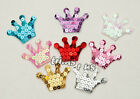 U PICK - 48 mm Padded Satin Sequined Crown Appliques Hair Bows x 16 pcs #2556