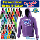 PERSONALISED ICE HORSE HOODIE ★ Rider Name Riding Pony Custom Equestrian Hoody