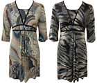 WOMENS PLUS SIZE 3/4 SLEEVE PAISLEY RETRO PRINT GOING OUT EVENING DRESS 14-26