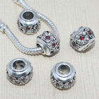 Wholesale Red Crystal Flower Design Tibet Silver European Charm Beads Findings