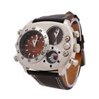 OULM Military Army Dual Time Zones Movements Quartz Watch Leather Sports Mens