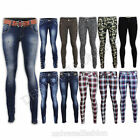 LADIES JEANS SKINNY SLIM FIT WOMENS PANTS TARTAN CHECK CAMOUFLAGE CAMO TROUSERS