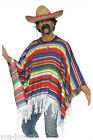 Mens Mexican Man Costume Poncho Sombrero Tash Mexican Kit Stag Party Fancy Dress