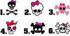 Waterslide Skulls Nail Decals Set of 20 - Skull Crossbones with Pink Bow