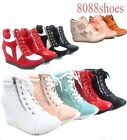 Kyпить Women's High Top Lace Up Wedge Fashion Sneaker Ankle Shoes NEW Size 5.5 - 10 на еВаy.соm