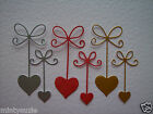 Die Cut Hearts with Bows Hanging Hearts in two sizes