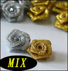 =50 pc Gold or Silver Color Choos Rose Satin Ribbon Flower Applique Trims Sew on