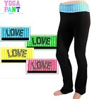 Yoga Pants in 4 Styles with Folded Waistband and Love Sequins in 4 Sizes