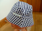 JO JO MAMAN BEBE REVERSIBLE GINGHAM BABY SUN HAT 6 TO 12 MONTHS NAVY BLUE RED