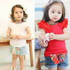 Girls Outfits Toddlers Kids Ruffled Sleeves T-shirt+ Bow-knot Jeans Pants 1-6Y