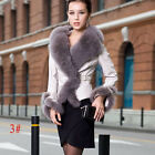 100% Real Sheep Leather Coat Lady Noble Slim Jackets With Silver Fox Trim QD5891