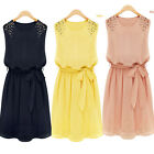 HOT Womens Chiffon Handmade Bead Shoulder Bow Belt Sleeveless Pleated Vest Dress