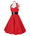 Red 50's Halterneck Polka Dot Vintage Rockabilly Swing Party Prom Dress UK 8-24