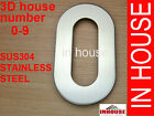 3D House Number, 0-9, SUS304 stainless steel, brushed finish