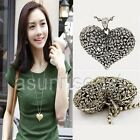 New Vintage Love Gold Silver tone Heart Pendant Necklace Long Sweater Chain Gift