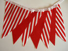 BUNTING Red Stripe & Plain on White Tape - 3m or 5m
