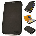 Premium Leather Case Flip Cover Card Wallet BLACK Skin for SAMSUNG Galaxy Note 2