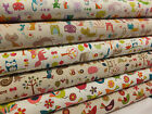 Japanese Linen/Cotton Party Animals Natural Fabric cats birds forest owls