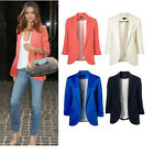 New Causal Womens Jacket OL Boyfriend Tops Roll Sleeve No Button Tunic Blazer