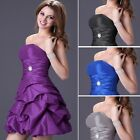 Short Strapless Bridesmaid Party Evening Cocktail Dress Skirt Bride Wedding Gown