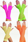 LONG NEON FINGERLESS FISHNET GLOVES 80S DANCE RAVE FANCY DRESS HEN PARTY