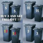 Wheelie Bin Number Buy 3 Stickers And Get Free Gift Vinyl In 19 Colours!!!