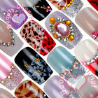 12PC Vintage shiny glitter Pre-Designed False Nail Art Acrylic Glue Tips Set