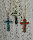 18KGP Red, Light Blue or Navy Blue Cross Necklace - Made in Czech