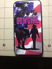 Rubber Cell Phone Iphone 4 & 4S & 5 case Cowgirl rose with Horse Western US Flag