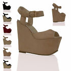 NEW WOMENS LADIES HIGH HEEL WEDGES PLATFORMS STRAPPY BUCKLE FASHION SHOES SIZE