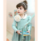 Girls Kids One Piece Tutu Dress Lapel Flowers Pearl Skirts Party Costume 2-8Y