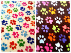 "Anti-Pil Polar Fleece Fabric - Multi Colour Paw Print Pattern - 59"" (150cm) wide"