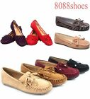 Women's Cute Slip On Fringe Boat Loafers Moccasins Low Mid Heel Flat Shoes NEW