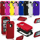 Impact TUFF Hybrid Silicone Black PC Robot Hard Case Cover For iPhone 4/4S