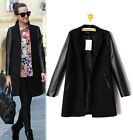 Ladies ZA Faux LEATHER SLEEVE+ WOOL Blazer Jacket COAT TRENCH PARKA