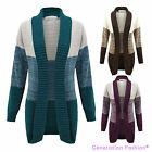 LADIES WOMENS KNITTED LONG SLEEVE OPEN FRONT STRIPE PRINT BOYFRIEND CARDIGAN