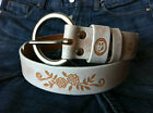 CLASSIC WHITE GENUINE COW SKIN FLOWER CARVED BELT