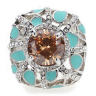 Vintage Art Decot Azury Alloy Ring Austrian Crystal Brown CZ Size 7 8 9