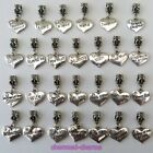1 or 4 x Silver Tone Rhinestone Family Heart Dangle Bead Charms on Bail or Clips