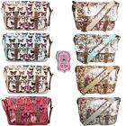 Ladies Owl Butterfly Oilcloth Cross Body Messenger Saddle School Satchel Handbag