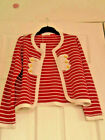 DESIGNER IZZUE STRIPED MILITARY CARDIGAN ONE SIZE 8-12 RED OR BLACK