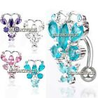 REVERSE RHINESTONE CZ CRYSTAL NAVEL BELLY BUTTON RING BUTTERFLY BODY JEWELRY NEW