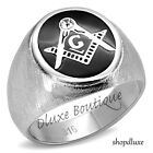 Men's Stainless Steel 316 Crystal Masonic Lodge Freemason Ring Band Size 8-13