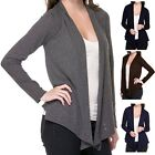 Women's Open Long Sleeve Cardigan With Ruched Back