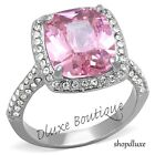 Women's Stainless Steel Radiant Cut Pink Rose Tourmaline CZ Ring Band Size 5-10