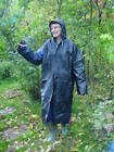 Hooded Raincoat Mac Pvc Vinyl (eva) Unisex Reusable Festival Poncho Blue Black