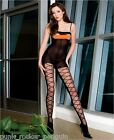 PEEK-A-BOO Crotchless Opaque Open Cup Bodystocking with Sheer Mock Lace Up Front