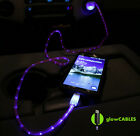 Red Cable w/ LED Glow Car Charger - Micro USB Cell Phone Fast LED Light Up Glo